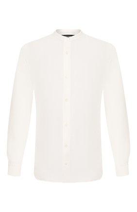 Мужская льняная рубашка Z ZEGNA белого цвета, арт. VU230/ZCSG1 | Фото 1 (Рукава: Длинные; Длина (для топов): Стандартные; Материал внешний: Лен; Случай: Повседневный; Воротник: Мандарин; Принт: Однотонные; Манжеты: На пуговицах; Мужское Кросс-КТ: Рубашка-одежда)