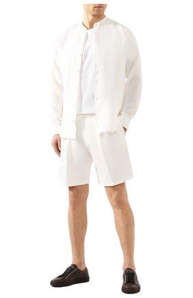Мужская льняная рубашка Z ZEGNA белого цвета, арт. VU230/ZCSG1 | Фото 2 (Рукава: Длинные; Длина (для топов): Стандартные; Материал внешний: Лен; Случай: Повседневный; Воротник: Мандарин; Принт: Однотонные; Манжеты: На пуговицах; Мужское Кросс-КТ: Рубашка-одежда)