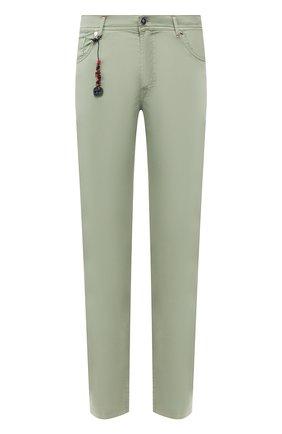 Мужской брюки из смеси хлопка и шелка MARCO PESCAROLO зеленого цвета, арт. NERAN0M18/4104 | Фото 1