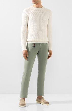 Мужской брюки из смеси хлопка и шелка MARCO PESCAROLO зеленого цвета, арт. NERAN0M18/4104 | Фото 2