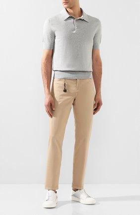 Мужской брюки из смеси хлопка и шелка MARCO PESCAROLO бежевого цвета, арт. NERAN0M18/4104 | Фото 2