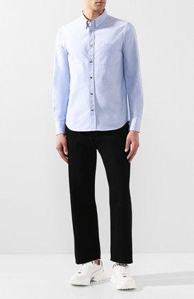 Мужская хлопковая рубашка MONCLER синего цвета, арт. F1-091-2F702-60-54A3B | Фото 2