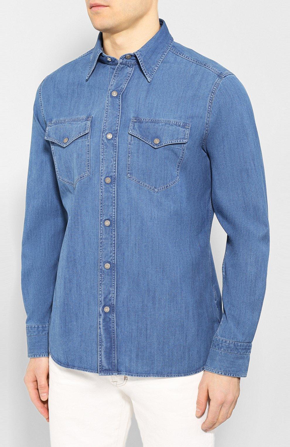 Мужская джинсовая рубашка TOM FORD голубого цвета, арт. 7FT420/94U2HE | Фото 3