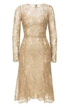 Женское платье DOLCE & GABBANA золотого цвета, арт. F6H1HT/HLM02 | Фото 1
