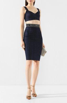 Женская джинсовая юбка DOLCE & GABBANA синего цвета, арт. F4AJND/G899T | Фото 2
