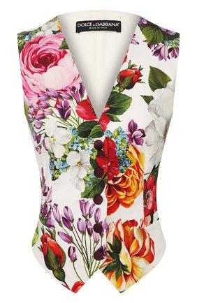 Женский жилет из смеси хлопка и шелка DOLCE & GABBANA разноцветного цвета, арт. F79H5T/FSFJG | Фото 1