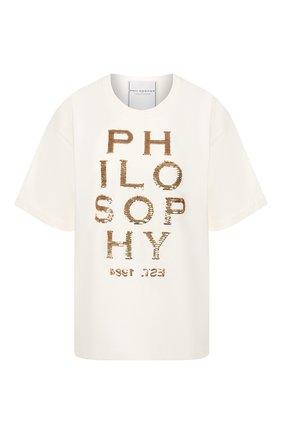 Женская хлопковая футболка PHILOSOPHY DI LORENZO SERAFINI белого цвета, арт. A0709/745 | Фото 1