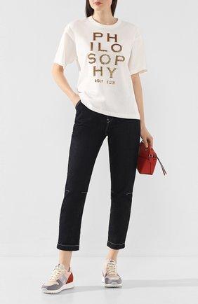 Женская хлопковая футболка PHILOSOPHY DI LORENZO SERAFINI белого цвета, арт. A0709/745 | Фото 2
