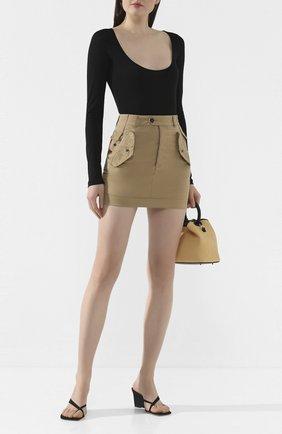 Женская хлопковая юбка DSQUARED2 бежевого цвета, арт. S72MA0787/S35175 | Фото 2