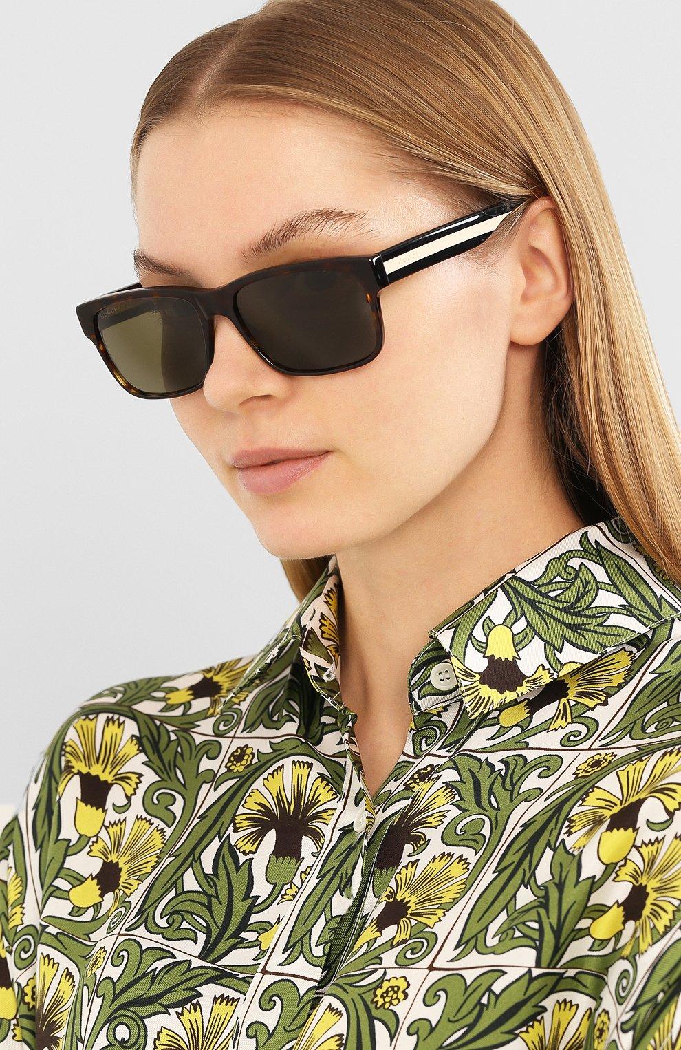 Женские солнцезащитные очки GUCCI коричневого цвета, арт. GG0340 008 | Фото 2