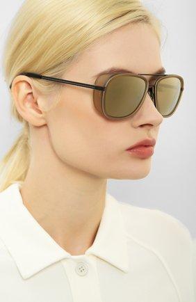 Женские солнцезащитные очки MATSUDA светло-коричневого цвета, арт. M3023 MCM-MBK | Фото 2 (Тип очков: С/з; Очки форма: Авиаторы; Оптика Гендер: оптика-унисекс)