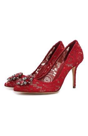 Женские текстильные туфли rainbow lace DOLCE & GABBANA бордового цвета, арт. 0112/CD0101/AL198 | Фото 1 (Материал внутренний: Натуральная кожа; Материал внешний: Текстиль; Подошва: Плоская)