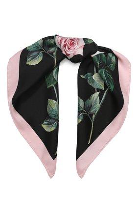 Женский шелковый платок DOLCE & GABBANA черного цвета, арт. FN093R/GDS15   Фото 1