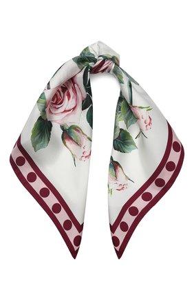 Женский шелковый платок DOLCE & GABBANA белого цвета, арт. FN093R/GDS15 | Фото 1
