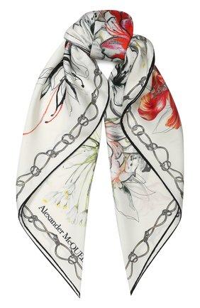 Женский шелковый платок ALEXANDER MCQUEEN белого цвета, арт. 621799/3001Q | Фото 1