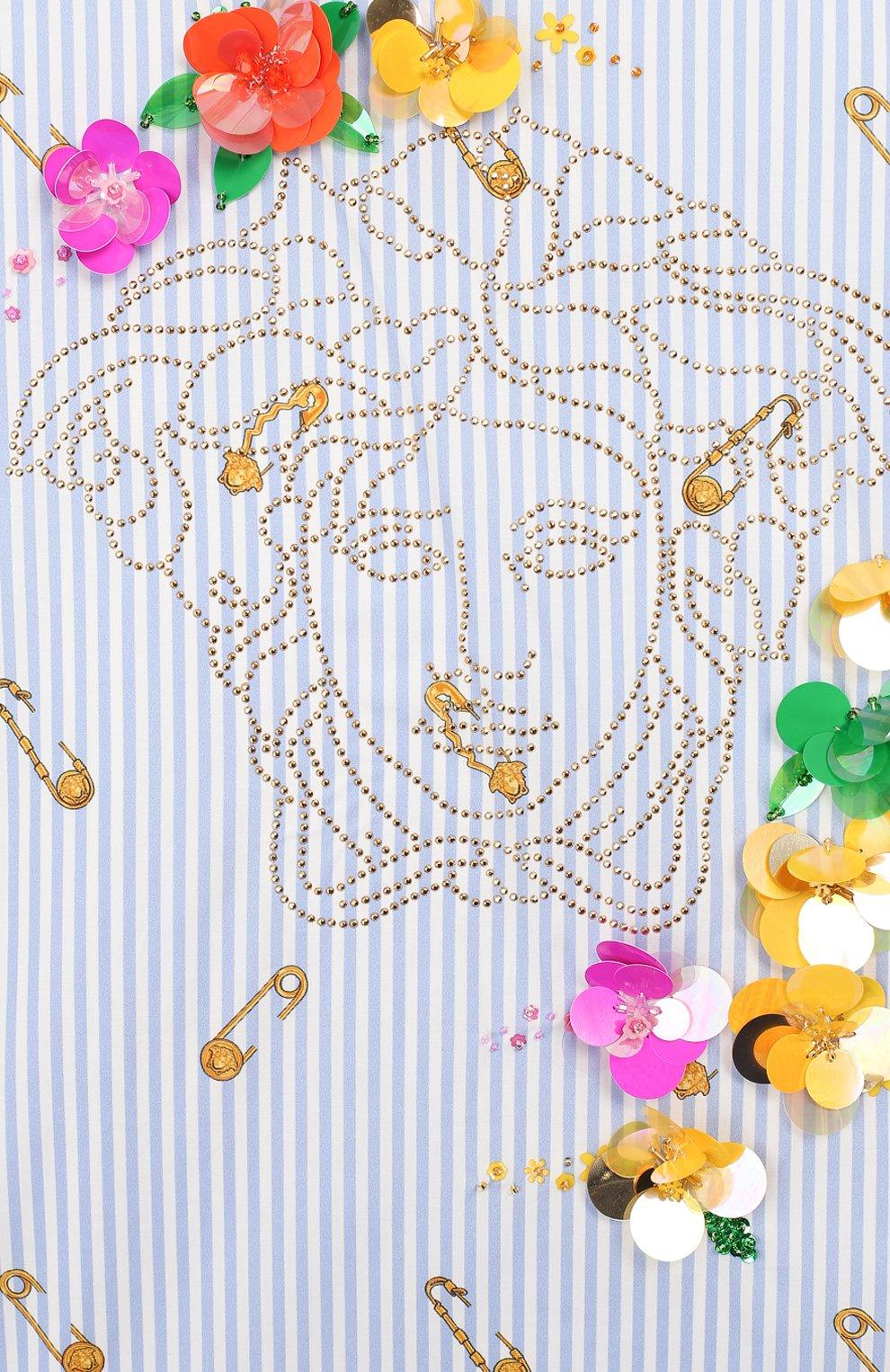 Детское хлопковое платье VERSACE голубого цвета, арт. YC000237/A233568/8A-14A   Фото 3 (Рукава: Короткие; Случай: Повседневный; Материал внешний: Хлопок; Материал подклада: Хлопок; Ростовка одежда: 12 лет   152 см)