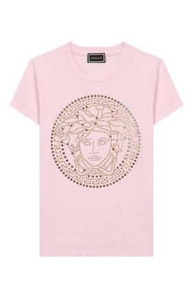 Детская хлопковая футболка VERSACE розового цвета, арт. YC000278/YA00019/8A-14A | Фото 1