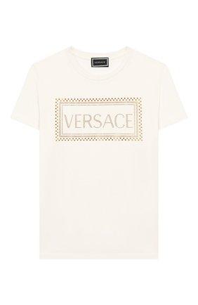 Детская хлопковая футболка VERSACE белого цвета, арт. YC000280/YA00079/8A-14A | Фото 1