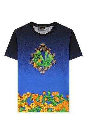 Детская хлопковая футболка VERSACE синего цвета, арт. YD000169/A232866/4A-6A | Фото 1