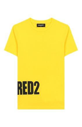Детская хлопковая футболка DSQUARED2 желтого цвета, арт. DQ03NY-D00MQ | Фото 1