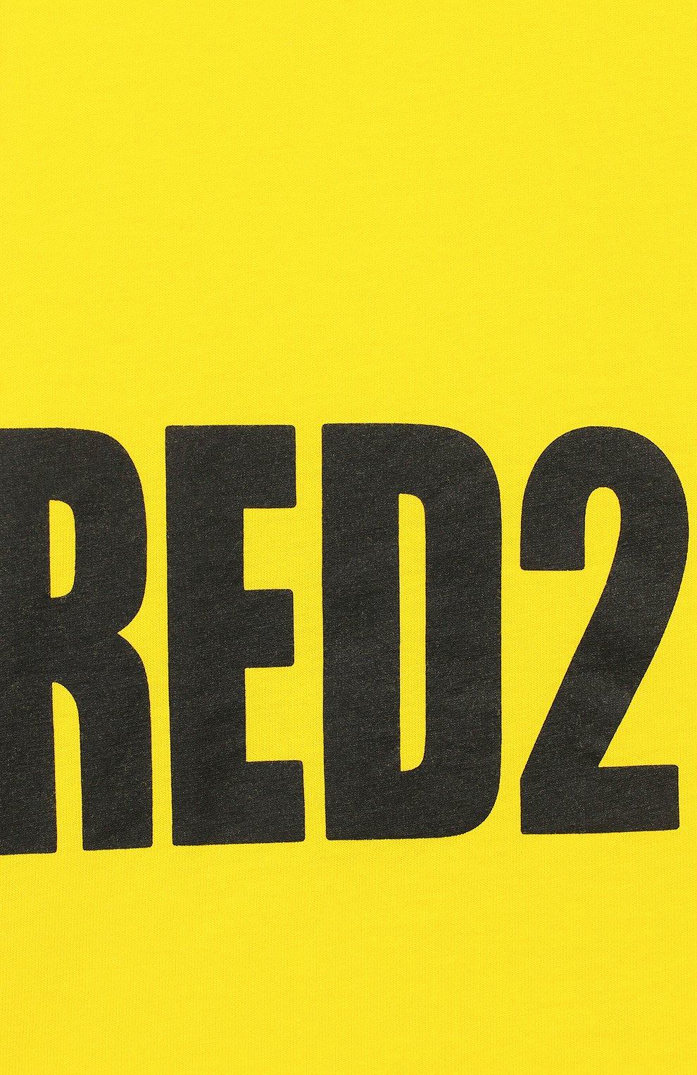 Детская хлопковая футболка DSQUARED2 желтого цвета, арт. DQ03NY-D00MQ | Фото 3