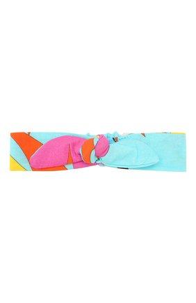 Детская повязка на голову EMILIO PUCCI бирюзового цвета, арт. 9M0184/MC750 | Фото 1
