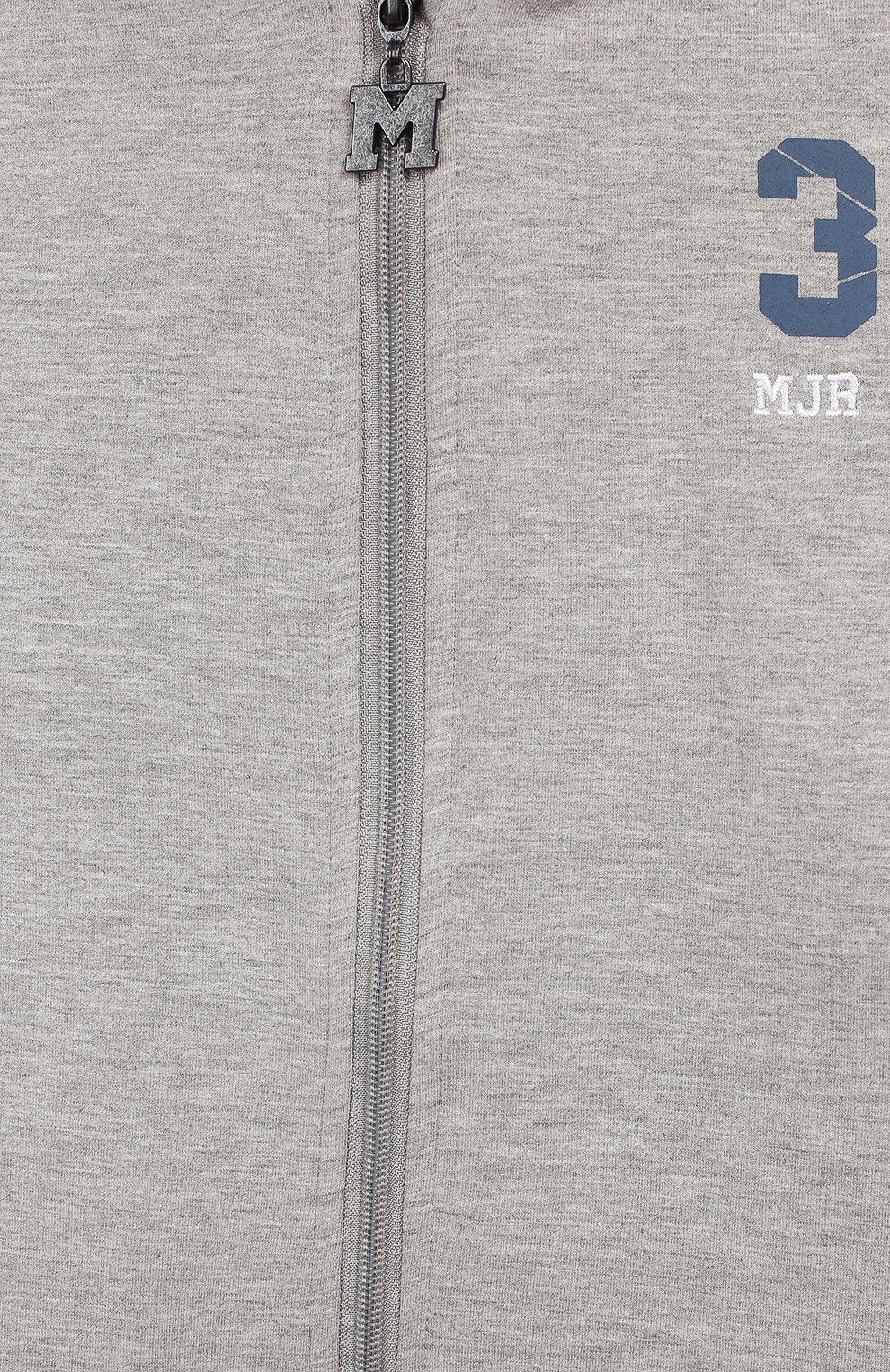 Детский хлопковая толстовка MONTA JR серого цвета, арт. CRAT0 | Фото 3 (Рукава: Длинные; Мальчики Кросс-КТ: Толстовка-спорт; Материал внешний: Синтетический материал, Хлопок, Полиэстер)