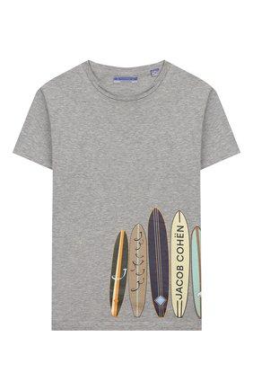 Детская хлопковая футболка JACOB COHEN серого цвета, арт. J4015 J-80001-L | Фото 1