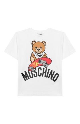 Детская хлопковая футболка MOSCHINO KID белого цвета, арт. HVM029/LBA10/4A-8A | Фото 1