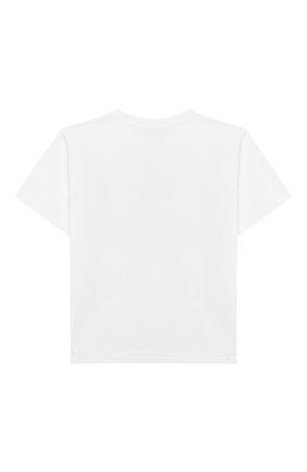 Детская хлопковая футболка MOSCHINO KID белого цвета, арт. HVM029/LBA10/4A-8A | Фото 2
