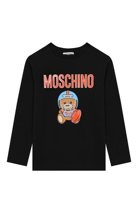 Детская хлопковый лонгслив MOSCHINO KID черного цвета, арт. HU0000/LBA10/4A-8A | Фото 1