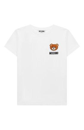 Детская хлопковая футболка MOSCHINO KID белого цвета, арт. HMM02C/LBA10/10A-14A | Фото 1