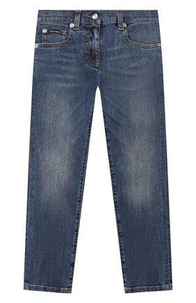 Детские джинсы DOLCE & GABBANA синего цвета, арт. L51F69/LD869/2-6   Фото 1 (Материал внешний: Хлопок; Кросс-КТ: джинсы; Ростовка одежда: 2 года   92 см, 3 года   98 см, 4 года   104 см, 5 лет   110 см, 6 лет   116 см)