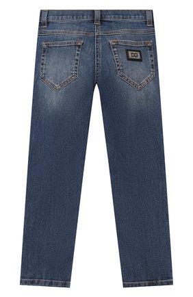 Детские джинсы DOLCE & GABBANA синего цвета, арт. L51F69/LD869/2-6   Фото 2 (Материал внешний: Хлопок; Кросс-КТ: джинсы; Ростовка одежда: 2 года   92 см, 3 года   98 см, 4 года   104 см, 5 лет   110 см, 6 лет   116 см)
