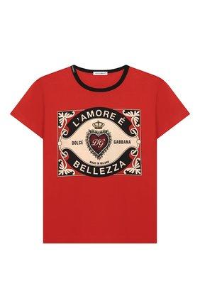Детская хлопковая футболка DOLCE & GABBANA красного цвета, арт. L4JT6S/G7VL0/2-6 | Фото 1