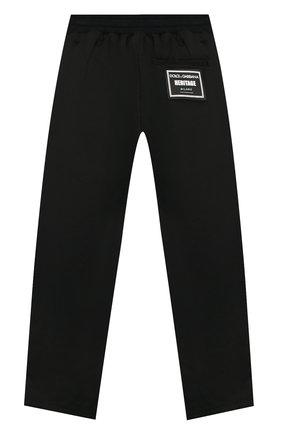 Детские хлопковые брюки DOLCE & GABBANA черного цвета, арт. L43P27/G7V0G/2-6   Фото 2