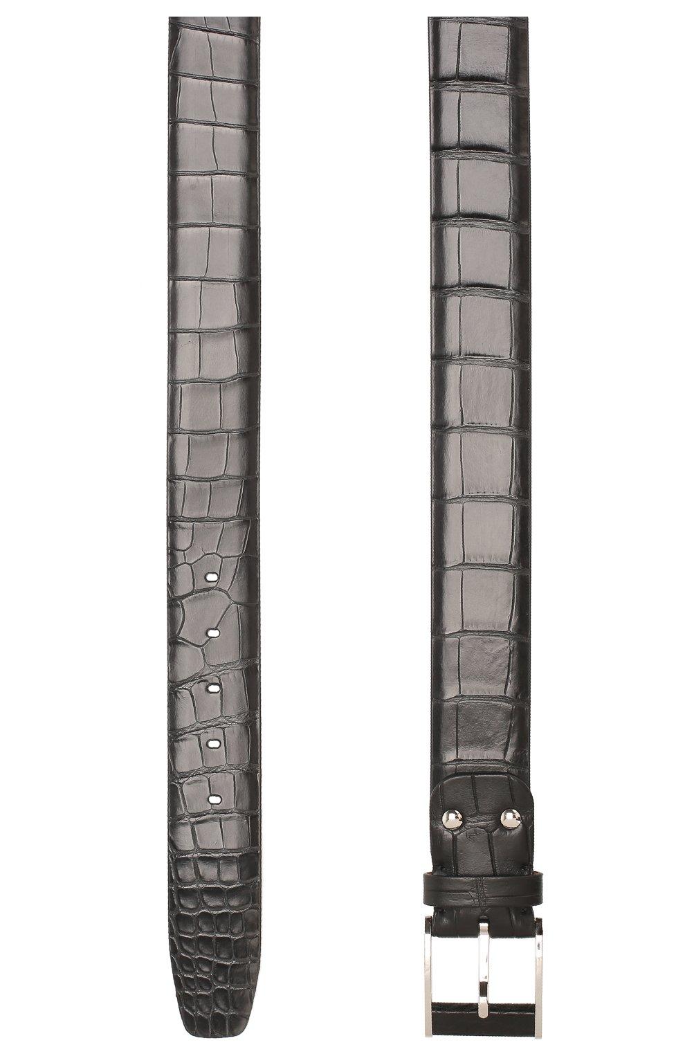Ремень из кожи крокодила со сменными пряжками   Фото №2