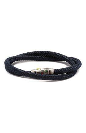 Мужской текстильный браслет TATEOSSIAN синего цвета, арт. BR0709 | Фото 1 (Стили: Кэжуэл; Принт: Без принта; Материал: Текстиль)