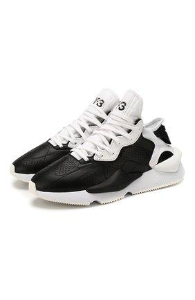 Мужские кожаные кроссовки kaiwa Y-3 черно-белого цвета, арт. EH1398/M | Фото 1