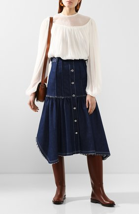 Женская шелковая блузка CHLOÉ белого цвета, арт. CHC20SHT84006 | Фото 2