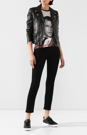 Женская хлопковая футболка DOLCE & GABBANA светло-серого цвета, арт. F8H32Z/G7VZ0 | Фото 2