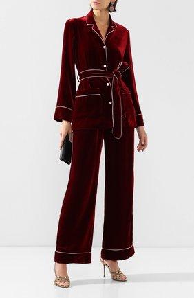 Женские бархатные брюки DOLCE & GABBANA бордового цвета, арт. FTAMPT/FUVKQ | Фото 2