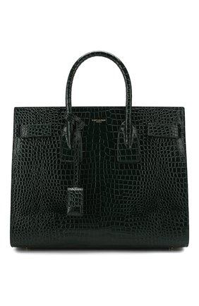 Женская сумка sac de jour small с тиснением под крокодила SAINT LAURENT темно-зеленого цвета, арт. 378299/DND1J | Фото 1