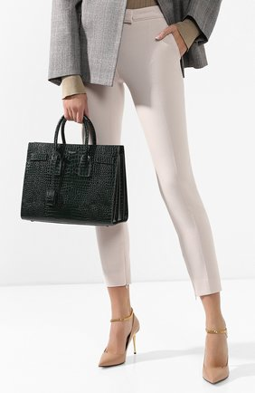 Женская сумка sac de jour small с тиснением под крокодила SAINT LAURENT темно-зеленого цвета, арт. 378299/DND1J | Фото 2