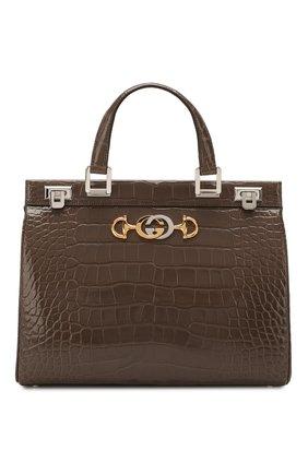 Женская сумка gucci zumi из кожи аллигатора GUCCI темно-серого цвета, арт. 564714/EV40X/AMIS | Фото 1
