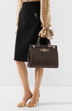 Женская сумка gucci zumi из кожи аллигатора GUCCI темно-серого цвета, арт. 564714/EV40X/AMIS | Фото 2