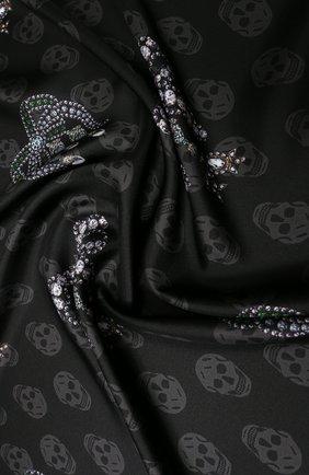 Женский шелковый платок ALEXANDER MCQUEEN черного цвета, арт. 610165/3001Q | Фото 2