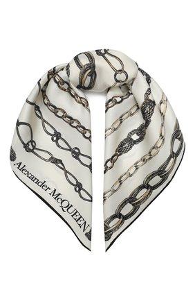 Женский шелковый платок ALEXANDER MCQUEEN кремвого цвета, арт. 621010/3001Q | Фото 1