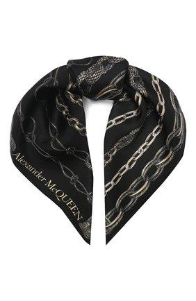Женский шелковый платок ALEXANDER MCQUEEN черного цвета, арт. 621010/3001Q | Фото 1