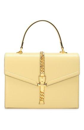 Женская сумка sylvie 1969 small GUCCI желтого цвета, арт. 602781/1DB0G   Фото 1 (Размер: small; Материал: Натуральная кожа; Ремень/цепочка: На ремешке; Сумки-технические: Сумки top-handle, Сумки через плечо)